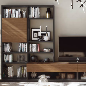 Composición para el salón con muebles para TV con librería y vitrinas incorporadas